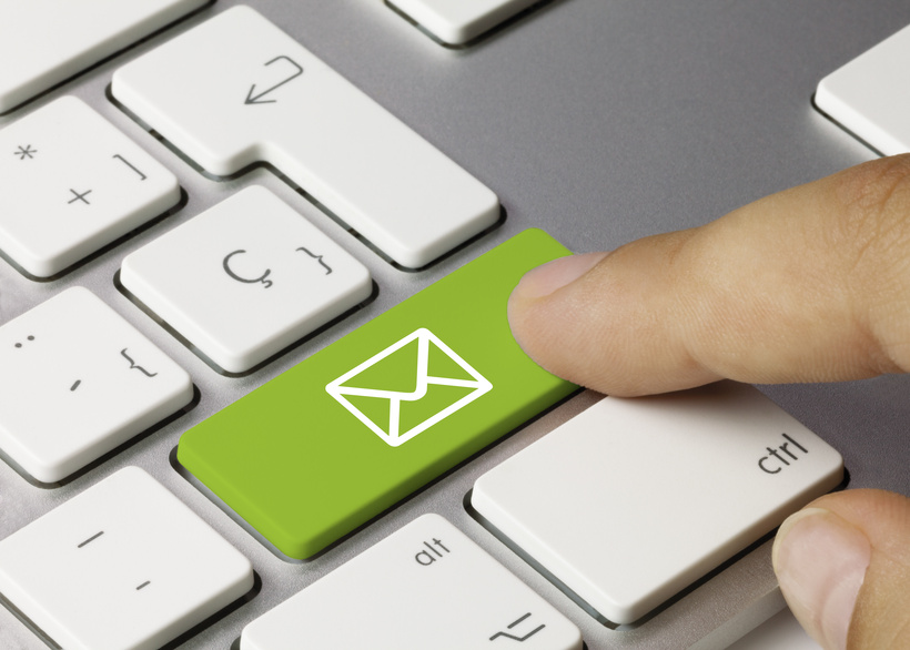 E-mail keyboard key. Finger